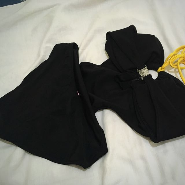 Black one piece swimswear