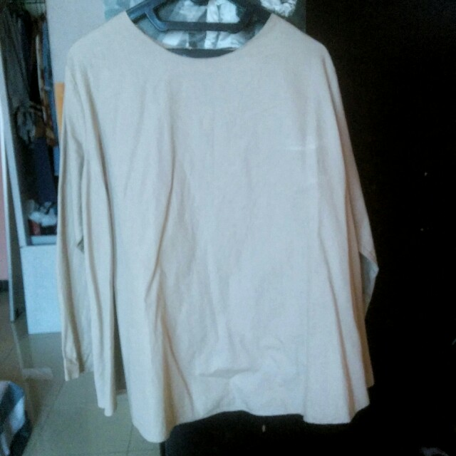 Blouse katun cream coklat
