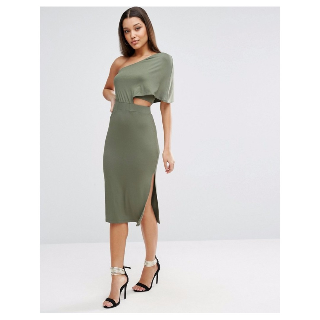 BNWT ASOS One Shoulder Midi Bodycon Dress With Side Slit