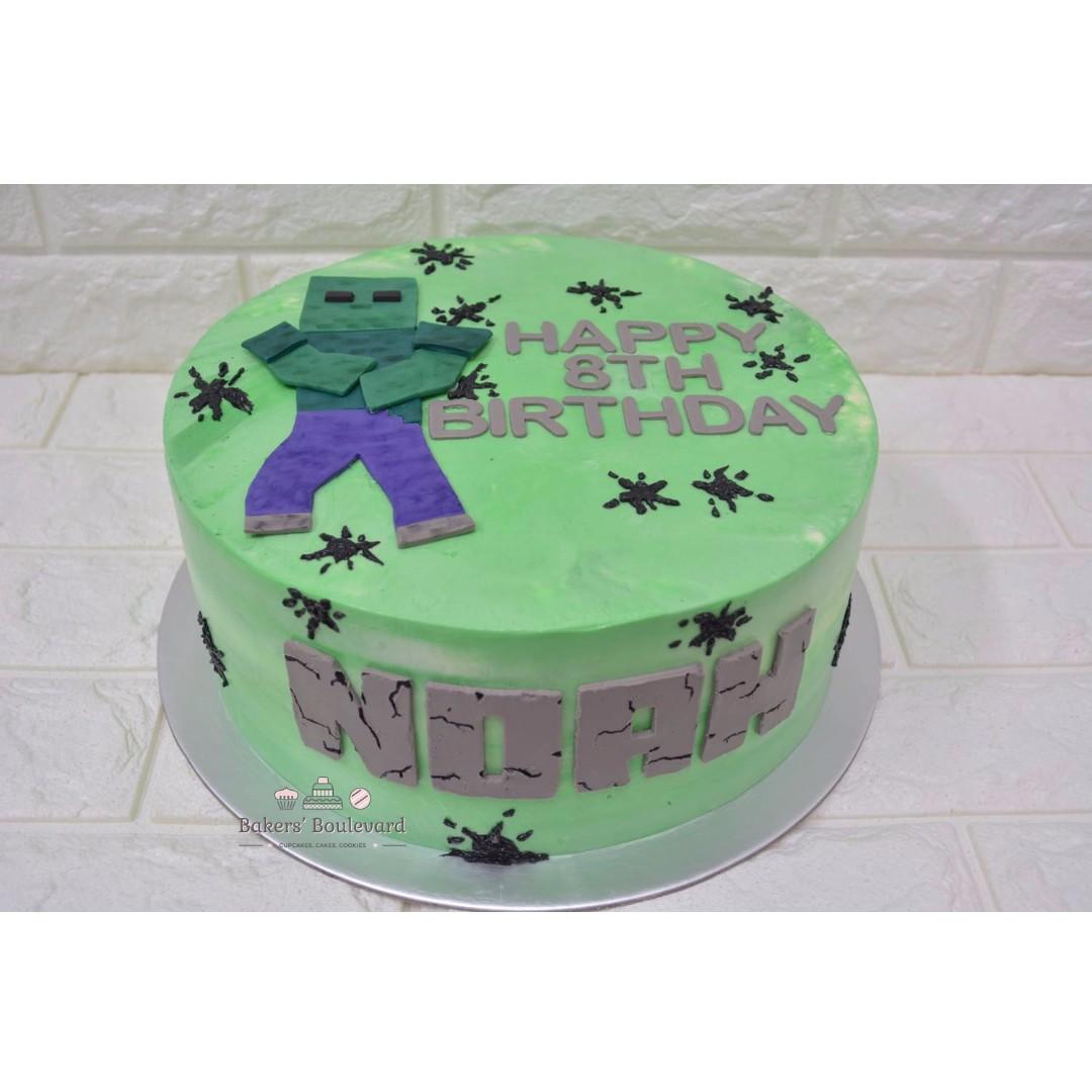 Custom cake Minecraft Zombie theme green buttercream with white