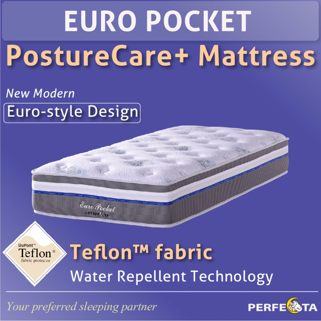 Euro Pocket Posturecare Plus Mattress Individual Pocketed Spring Single Size