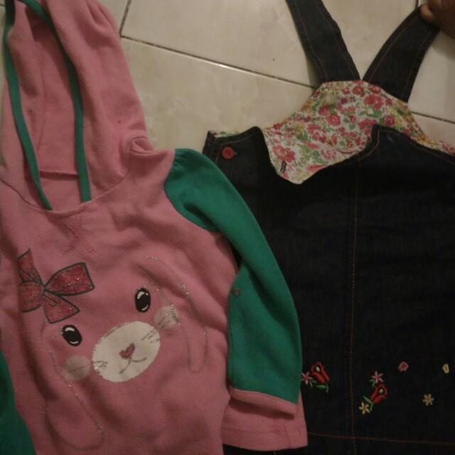Free ong jkt Setelan baju hoodie dan overall size 1-2thn