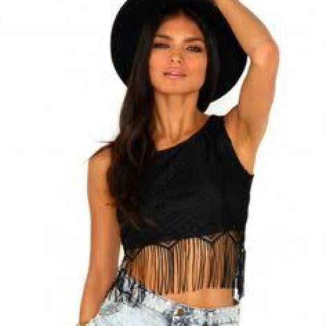 Lace and Fringe Crop Top