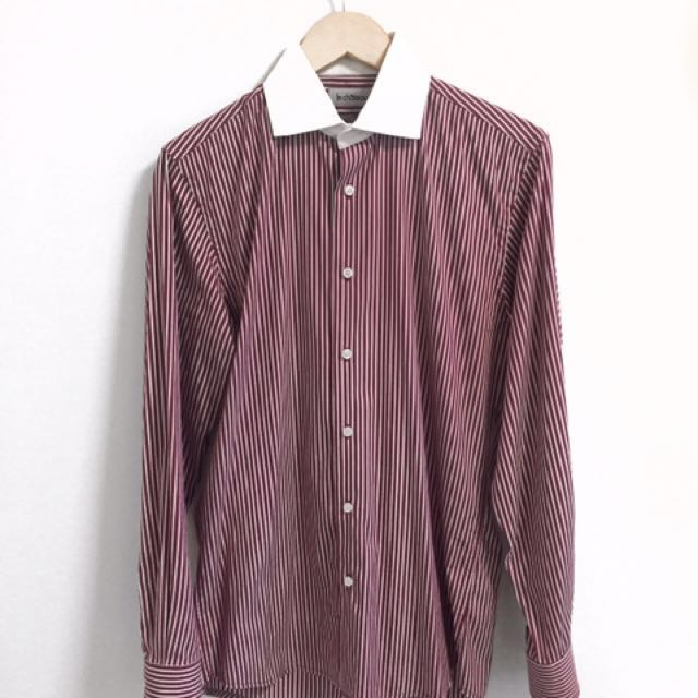 LE CHÂTEAU Red and White Stripped Dress Shirt