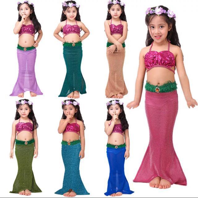 Little Mermaid 2 Pcs Set Halloween Cosplay Birthday Party Dress Swimming Costume