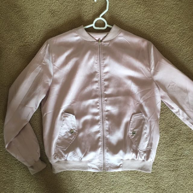 Missguided Pink Satin Bomber