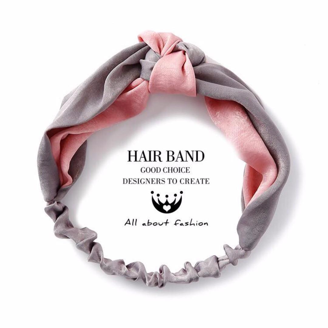 🎀韓國雙色拼接緞面交叉髮帶🎀P1006303