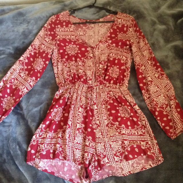Patterned playsuit size 8