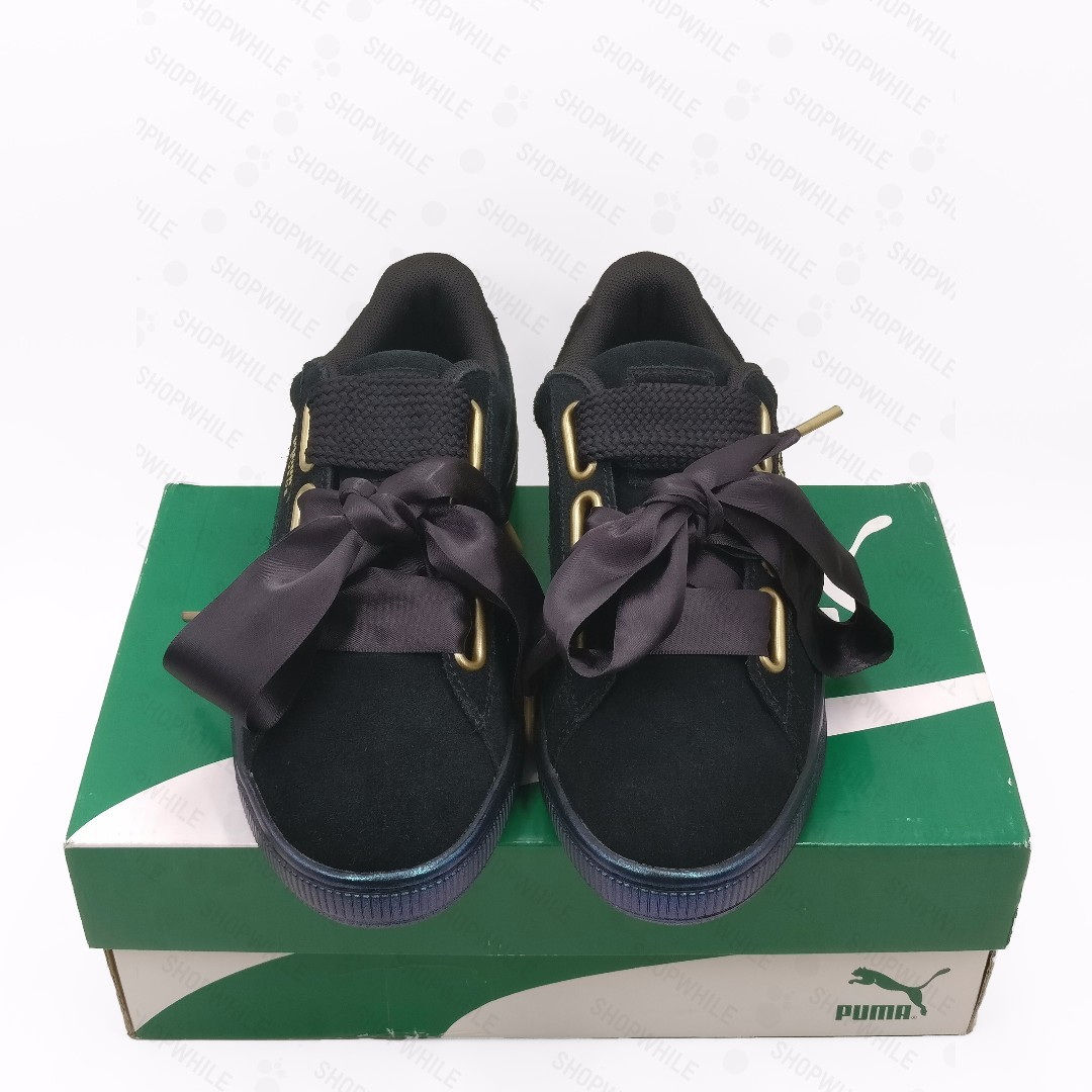puma suede heart satin black black 362714 03 shoes for cheap 349d9 ... aa30ef792