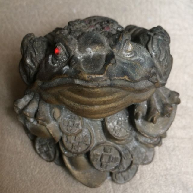 Rare Antique Lucky Charm Brass Frog for Business