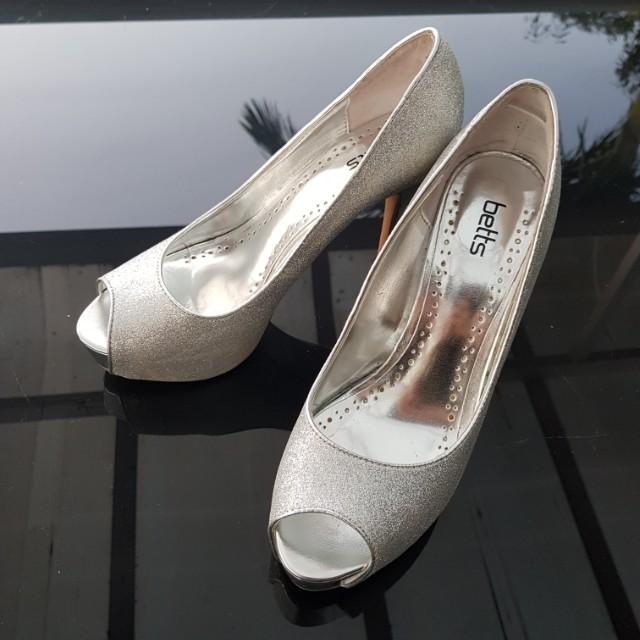 Silver Glittery Betts Heels