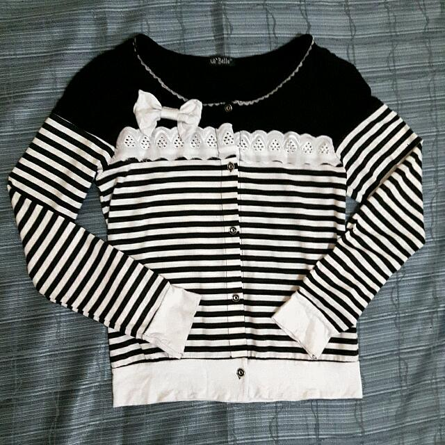 Striped Ribbon Cardigan