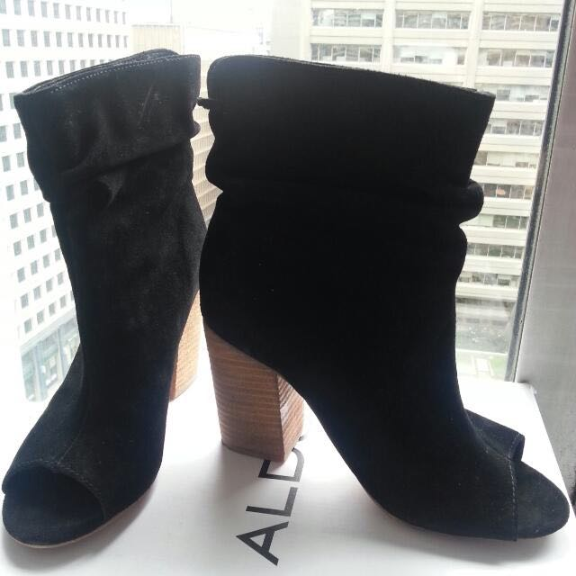 Suede Peep-toe Ankle Boots (Aldo)
