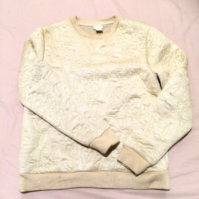 Sweater cream beige soft floral pattern for winter