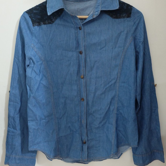 Unbranded Denim Polo Long Sleeves