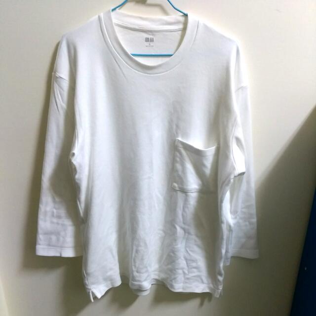Uniqlo 白色七分袖寬T Size L