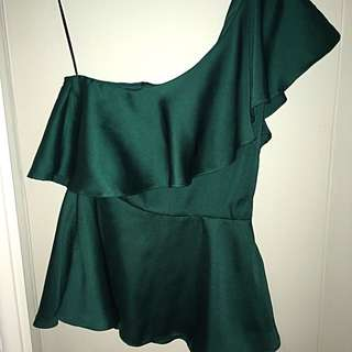 H&M Emerald Green one shoulder top