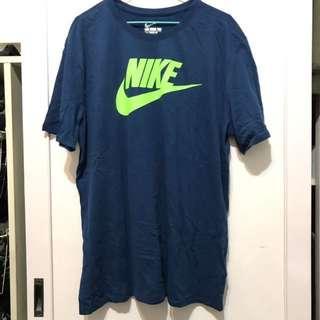 Nike 藍底綠勾 t-shirt 短T 2XL