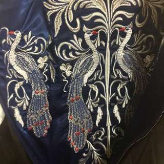 🚚 刺繡外套/雙面穿/深藍與黑/孔雀