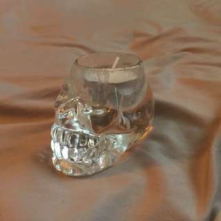 Crystal Skull Tea Light Candle or Air Plant Vase