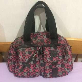 Kipling Pink & Black Skull Shoulder Bag