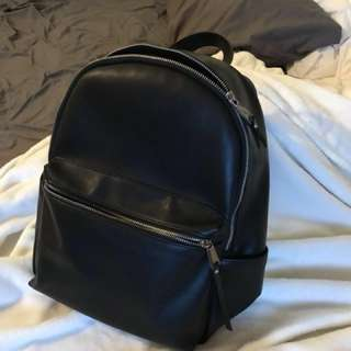 FCUK Black Vegan Leather Backpack