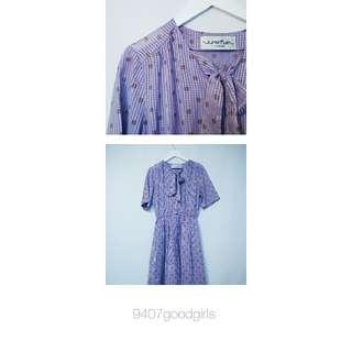 紫色系棕色點點古著長裙