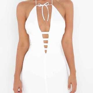 White Tigermist Dress Lace Up Size M