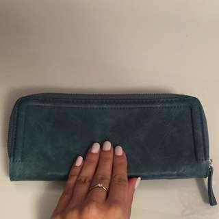 Aqua leather like wallet/ clutch