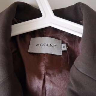 Accent Blazer For Work (Dark Brown)