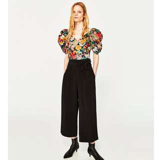 NEW! Zara TRF Collection SS17 Cropped Trousers with Side Tie - Size S