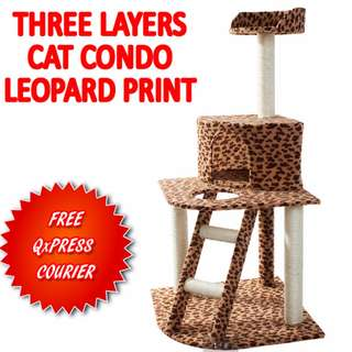 TPE041 Three Layer Condo Cat Jumping Toy with Ladder Scratching Wood Climbing Tree