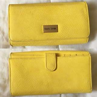 laura jones/strandbags yellow faux leather wallet