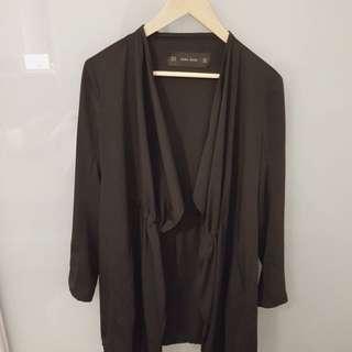 Zara black lightweight waterfall jacket xs