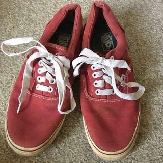 vans maroon skate sneakers, men's size 8.5/women's size 9-10