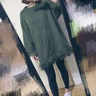 墨綠流蘇針織洋裝
