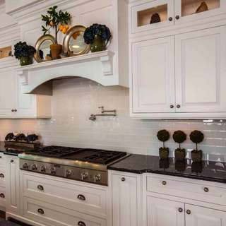 **White Glass Tile Backsplash**
