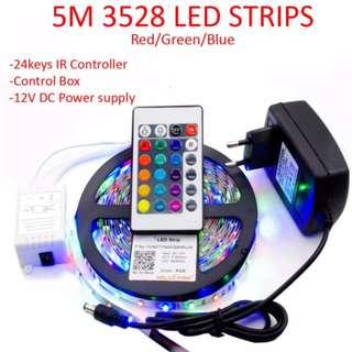5M 3528 LED strip light RGB + 24keys Remote Control + with 12V 2A Power Adapter Supply Christmas Decor Light