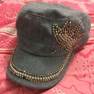 Bejewelled Blue Denim Hat
