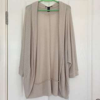 Forever 21 Beige Drape Cardigan Size L NWOT