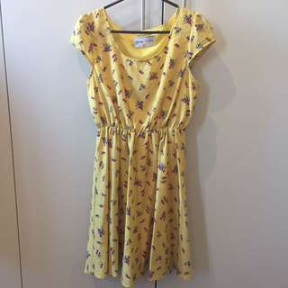 Yellow Fit and Flare Bird Dress