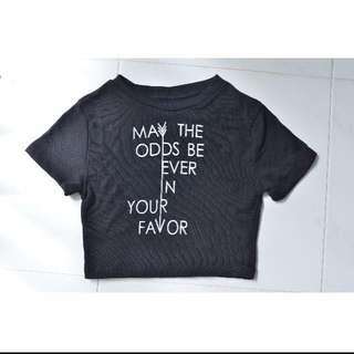 Ribbed Hunger Games Slogan Black Crop Top