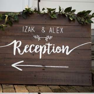 Custom made personalised wedding reception sign