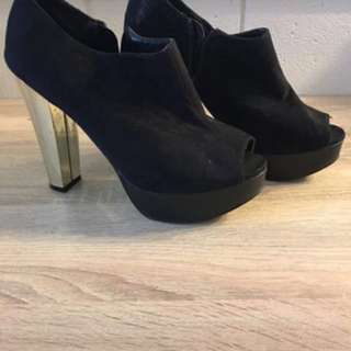 BLACK SUEDE BOOTIES- Size 7