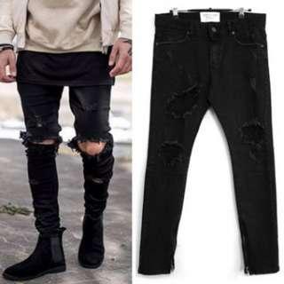 F.o.g demage damage black jeans