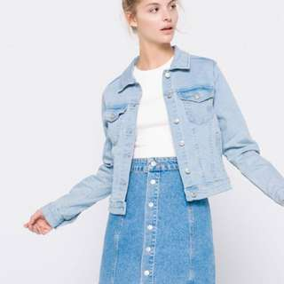 PULL N BEAR FITTED DENIM JACKED