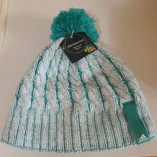 🚚 adidas 藍綠白色編織毛帽