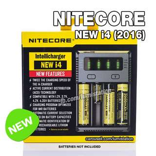 Nitecore IntelliCharger NEW i4 26650 18650 14500 18350 16340 LI-ION and AA AAA Ni-MH Charger - 2 Flat Pin Plug