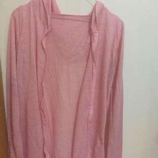 Cardigan terawang soft pink