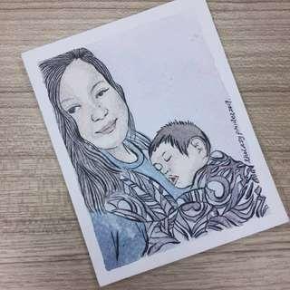 babywearing keepsake artwork / personalised babywearing watercolour painting / gift for a new mom